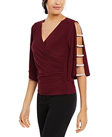 Rhinestone Statement-Sleeve Surplice Top
