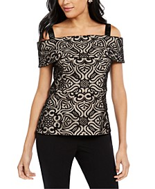 Cold-Shoulder Burnout Lace Top, Created for Macy's