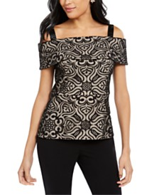 28th & Park Cold-Shoulder Burnout Lace Top, Created for Macy's