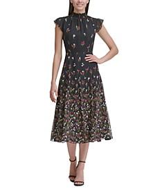Floral Chiffon Mock-Neck Dress