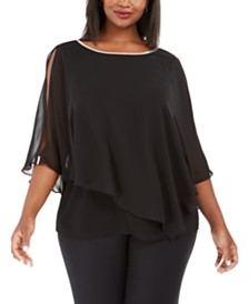 MSK Plus Size Rhinestone X-Back Overlay Top