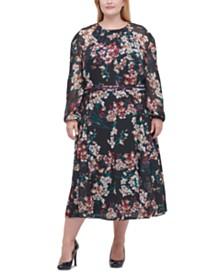 Tommy Hilfiger Plus Size Chiffon Floral Midi Dress