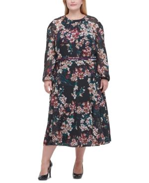 Plus Size Chiffon Floral Midi Dress in Black Multi