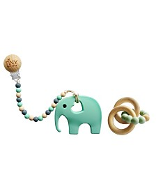 Tiny Teethers Infant Silicone and Beech Rattle and Teether Gift Set, Elephant