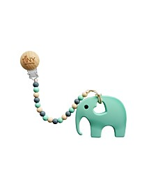 Tiny Teethers Infant Silicone Pacifier Clip with Large Removable teether, Elephant