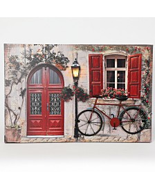 Luxen Home Tuscan Cottage and Bike Print with LED Lights