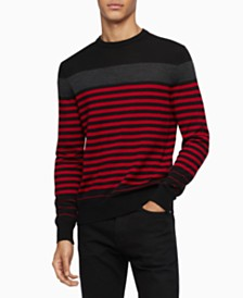 Calvin Klein Men's Merino Colorblock Stripe Sweater