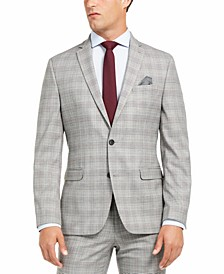 Men's Slim-Fit Active Stretch Performance Black/White Houndstooth Plaid Suit Separate Jacket, Created for Macy's