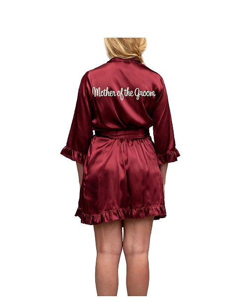 Wedding Prep Gals 'Mother of the Groom' Embroidered Ruffled Robe, Online Only