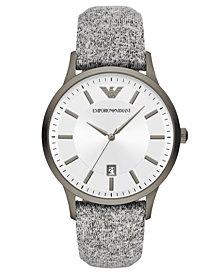 Emporio Armani Men's Gray Fabric Strap Watch 43mm
