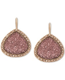 Gold-Tone Pavé & Druzy Stone Drop Earrings