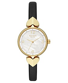 Women's Hollis Black Leather Strap Watch 30mm