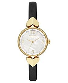 Women's Hollis Black Leather Strap Watch 30mm