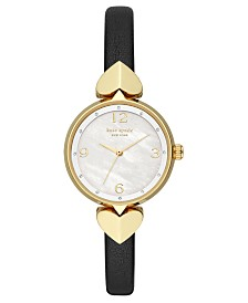 Kate Spade New York Women's Hollis Black Leather Strap Watch 30mm
