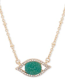 "lonna & lilly Gold-Tone Pavé & Druzy Stone Evil Eye Pendant Necklace, 16"" + 3"" extender"