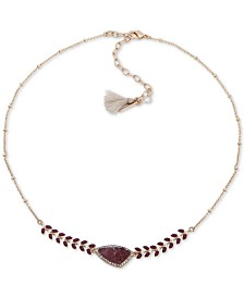 """lonna & lilly Gold-Tone Crystal & Stone Collar Necklace, 16"""" + 3"""" extender"""
