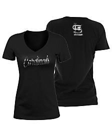 5th & Ocean Women's St. Louis Cardinals Black Foil V-Neck T-Shirt