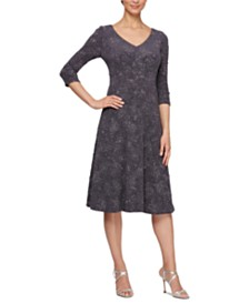 Alex Evenings Petite V-Neck A-Line Dress