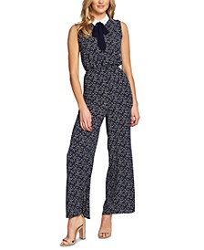 Printed Tie-Neck Jumpsuit