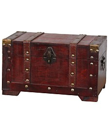 Vintiquewise Antique Style Wooden Small Trunk