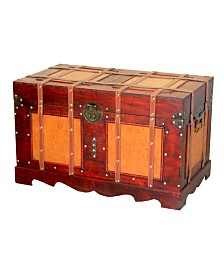 Vintiquewise Large Antique Style Steamer Trunk, Decorative Storage Box