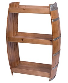 Industrial Style Rustic Wooden Wine Barrel Bar Storage Rack with Shelves