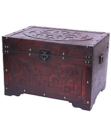 Vintiquewise Cherry Wood with Fretwork Detail Vintage Trunk