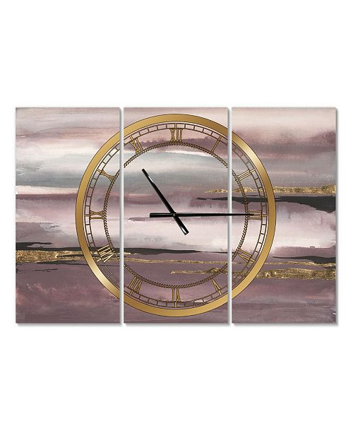 Designart Glam 3 Panels Metal Wall Clock