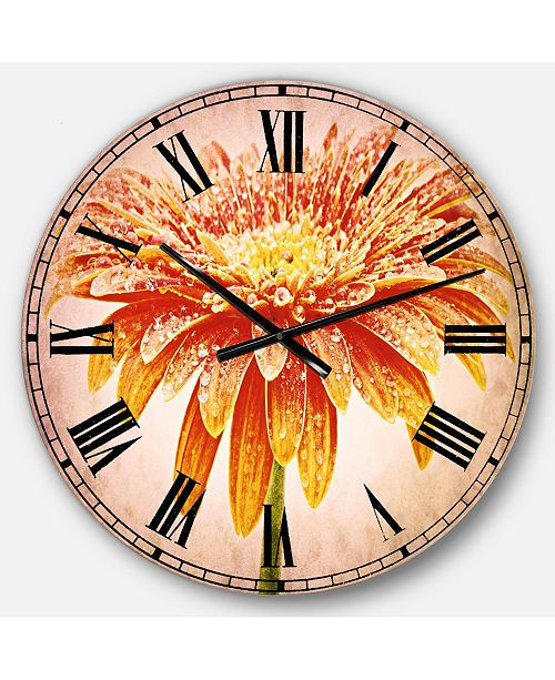 Designart Floral Oversized Round Metal Wall Clock