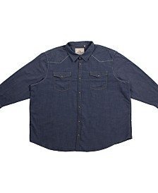 PX Clothing Big and Tall Long Sleeve Woven Denim Shirt