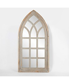 Luxen Home Wood Frame Cathedral Window Wall Mirror