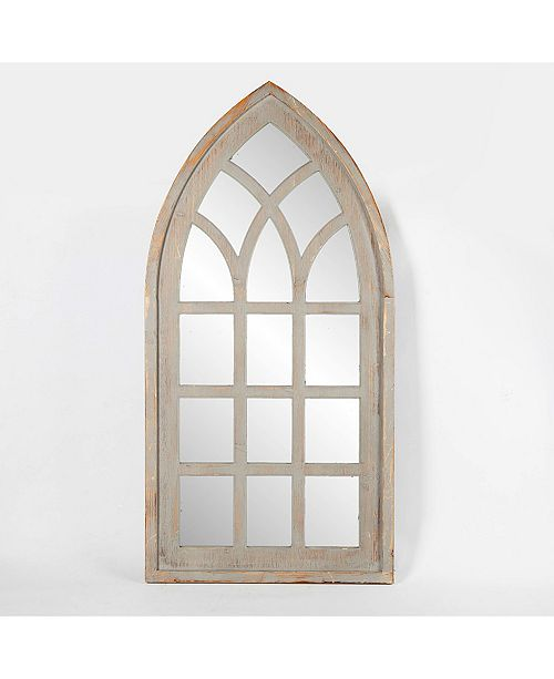 Wood Frame Cathedral Window Wall Mirror