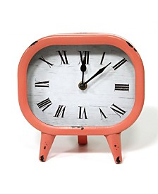 Stratton Home Decor Susie Retro Coral Metal Table Clock