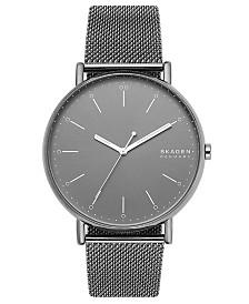 Skagen Men's Signatur Gray Stainless Steel Mesh Bracelet Watch 45mm