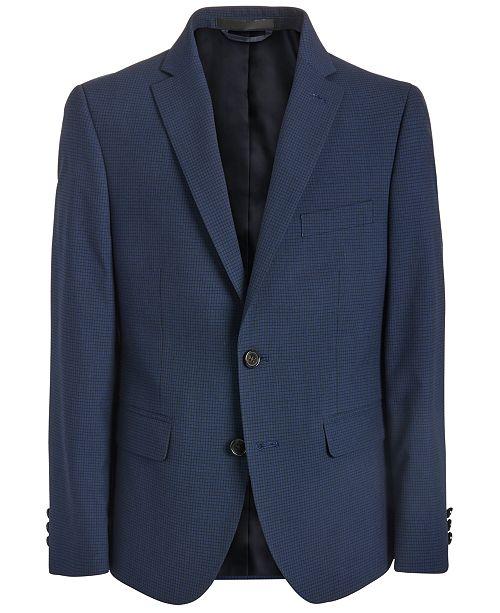 Lauren Ralph Lauren Big Boys Classic-Fit Stretch Navy Blue Mini-Grid Suit Jacket
