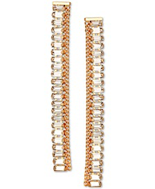 Gold-Tone Crystal Linear Drop Earrings