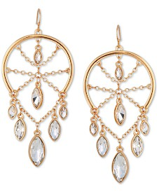 GUESS Gold-Tone Crystal Chandelier Earrings