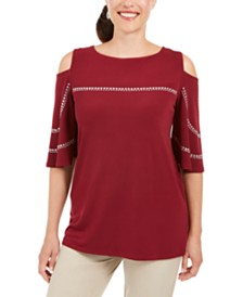 JM Collection Studded Boat-Neck Cold-Shoulder Top, Created for Macy's