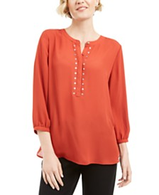 JM Collection Rivet Pleated-Back Blouse, Created for Macy's