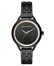 A X Armani Exchange Women's Harper Black Stainless Steel Bracelet Watch 38mm