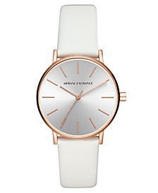 Women's Lola White Leather Strap Watch 36mm