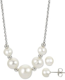 "2-Pc. Cultured Freshwater Pearl 18"" Collar Necklace & Stud Earrings Set in Sterling Silver"