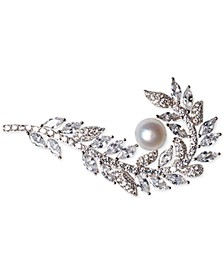 Cultured Freshwater Pearl (7mm) & Cubic Zirconia Feather Pin in Sterling Silver