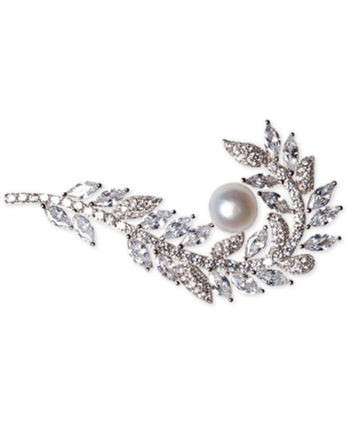 Macy's - Cultured Freshwater Pearl (7mm) & Cubic Zirconia Feather Pin in Sterling Silver