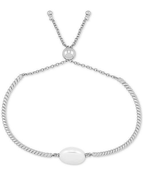 Macy's Cultured Freshwater Pearl (13mm) Bolo Bracelet in Sterling Silver