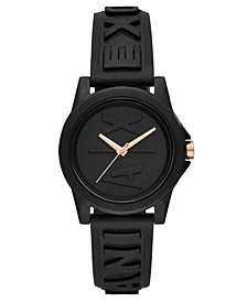 Women's Lady Bank Black Silicone Strap Watch 40mm