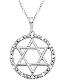 "Diamond (1/10 ct. t.w.) Star of David 18"" Pendant Necklace in Sterling Silver"