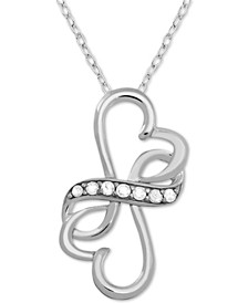 "Diamond (1/10 ct. t.w.) Double Heart Infinity 18"" Pendant Necklace in Sterling Silver"