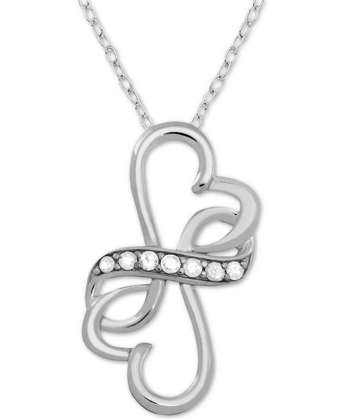 "Macy's - Diamond (1/10 ct. t.w.) Double Heart Infinity 18"" Pendant Necklace in Sterling Silver"