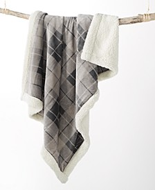 Plaid Reversible Sherpa Throw, Created for Macy's